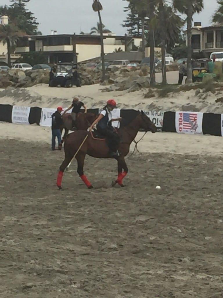Irene enjoying a game on the sands of del Coronado.