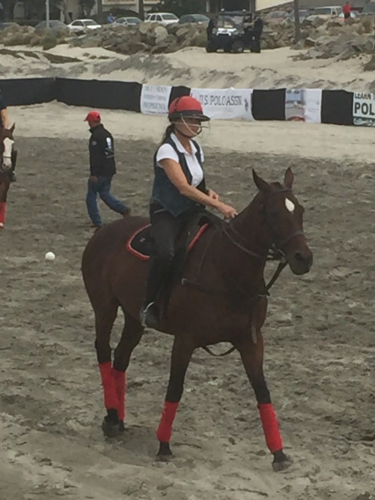 Irene enjoying the polo activities at del Coronado.