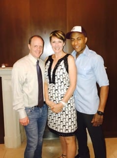 Communications Director John White, Lookingglass Theatre Board President Nancy Timmers and starring actor Anthony Fleming III