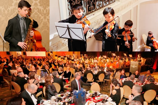 Clockwise from top Left: Jazz Orchestra Student Matthew Dardick, Preparatory Strings Musicians, and CYSO Gala Ballroom.
