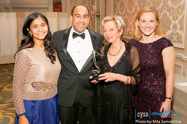 Gala Chairs Anjani and Saurab Bargava, Note of Excellence Award Recipient Jamie Bernstein and CYSO Executuve Director Susan Lape