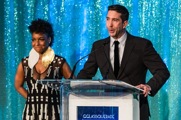 Lookingglass Ensemble Members J. Nicole Brooks and David Schwimmer. Photo by Adam Blaszkiewicz.