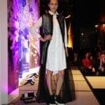 Factor model wearing Shelby Steiner design