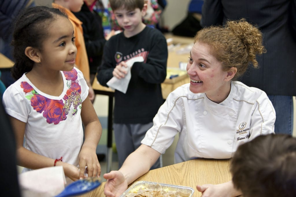 Chef Kristen Ryan and a CPS student