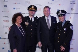 From left to right: Mary Ann Rose, Executive Director, Chicago Police Foundation; Sergeant Mark Sedevic; John C. Robak, Chair, Chicago Police Foundation; and Officer Ashley Madison