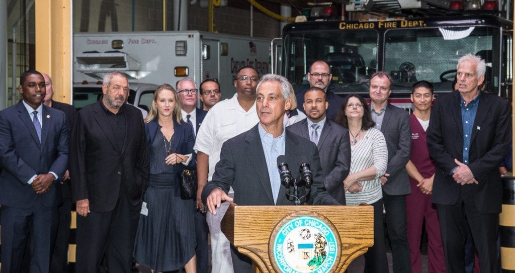 Mayor Emanuel acknowledging Chicago film industry's contributions.