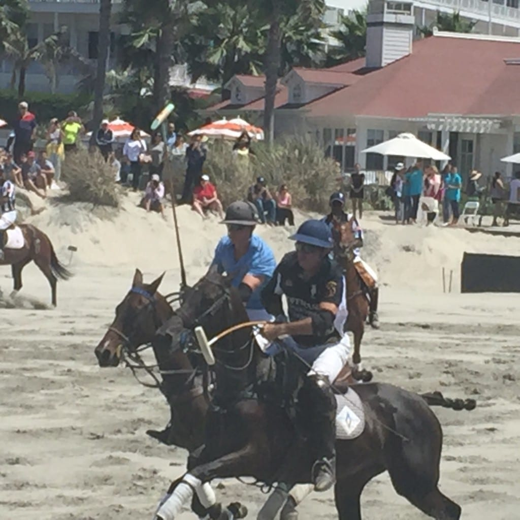 Players in the game at Hotel del Coronado for Beach Polo by Polo America.
