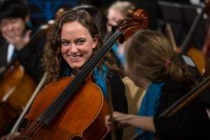 CYSO Symphony Orchestra cellist Julia Ilhardt _ Photo by Elliot Mandel