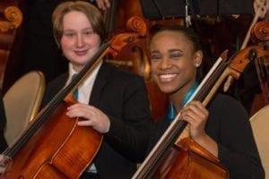 CYSO Symphony Orchestra cellists David Johns and Alexis Johnson _ Photo by Elliot Mandel