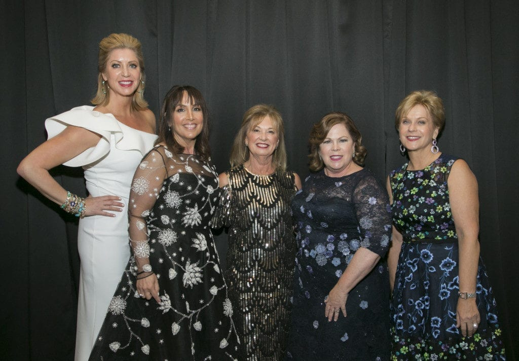 "Gala Co-chair Diane Landgren, Gala Co-Chair Wendy Krimins, Goodman Theatre Board Chair Joan Clifford, Goodman Theatre Women's Board President Cynthia Scholl and Gala Co-Chair Denise Stefan Ginascol at the Goodman Theatre ""Sequins and Soul"" Gala (May 20, 2017) 