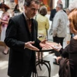 Magician Sean Masterson entertains guests with a few tricks up his sleeve.