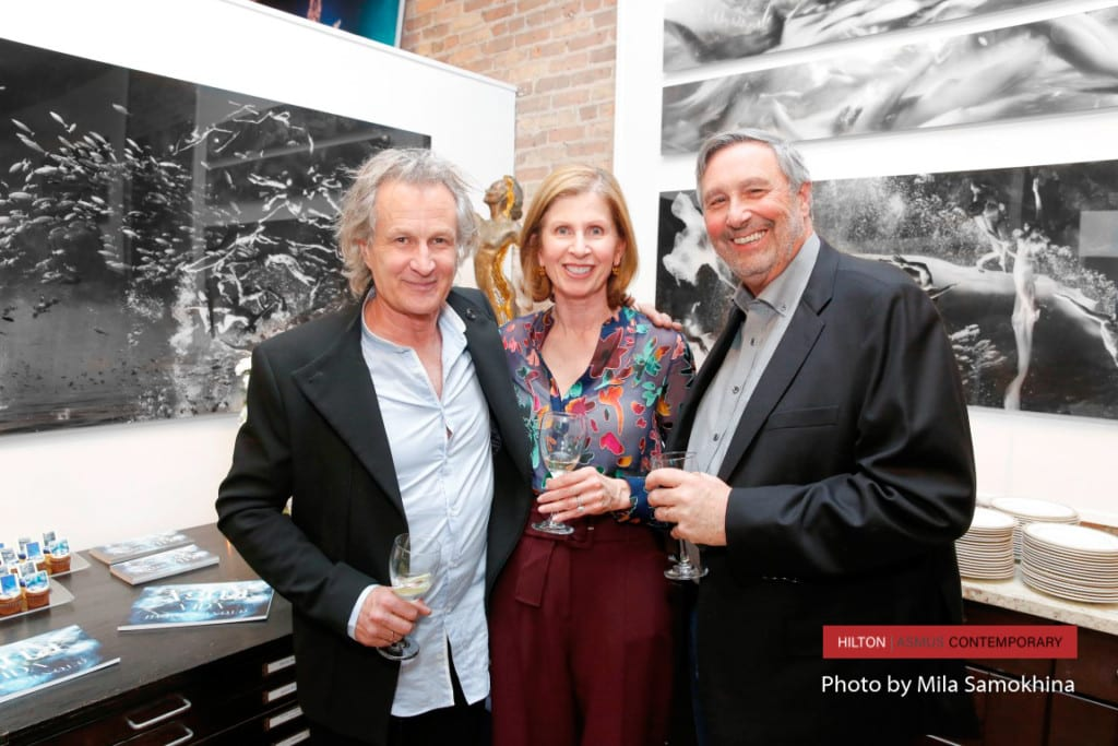 Hugh Arnold with Rob and Adele Osmond at Hilton Asmus Contemporary.