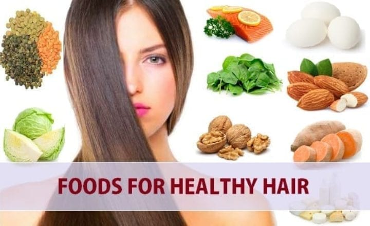 Woman with foods for healthy hair