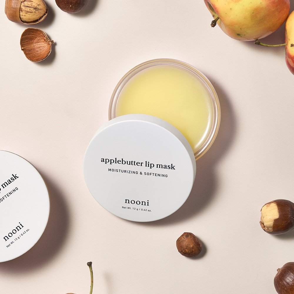 NOONI Applebutter Lip Mask 0.42 Ounces, Moisturzing lip care, Softening formula, Mineral oil free, Day&Night protect lip care, Rich lip balm