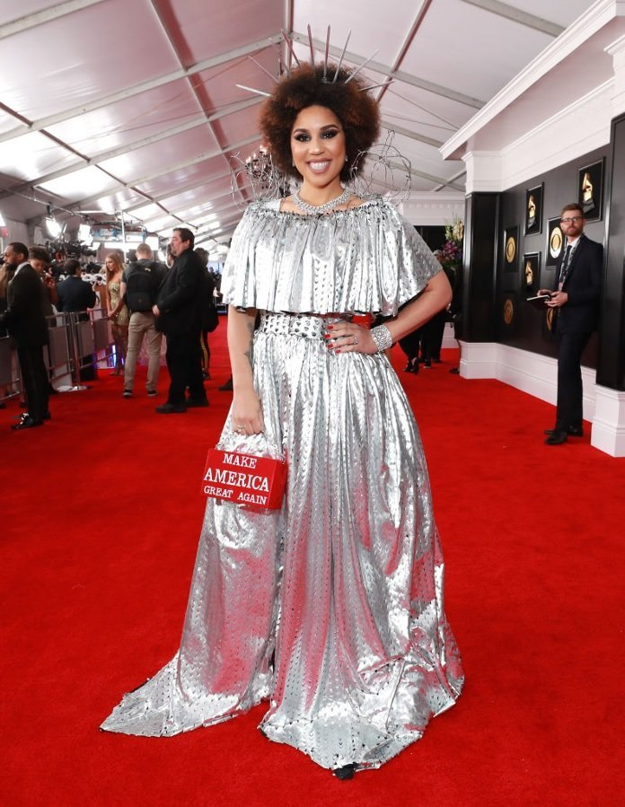 Grammys 2019: Joy Villa Captures Attention With 'Build the Wall' Barbed Wire Dress on Red Carpet
