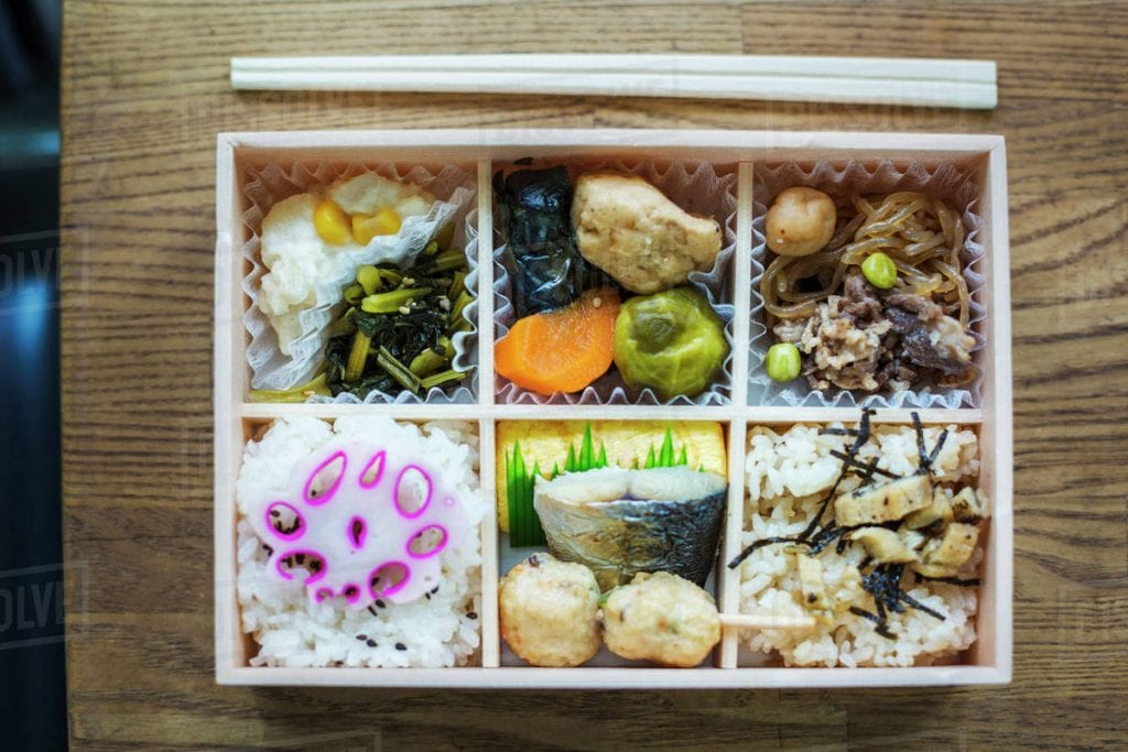 Bento box with traditional Japanese foods