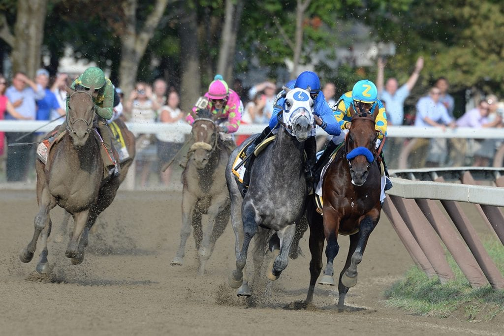American Pharoah and Frosted go head to head around the stretch turn of the 2015 Travers